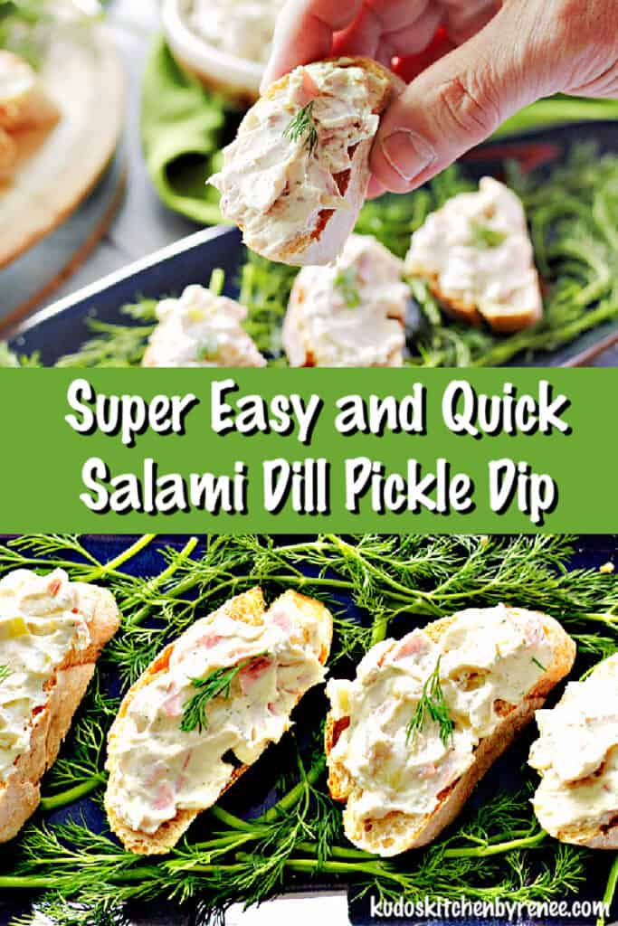 A photo collage of Salami Dill Pickle Dip in closeup photos with a title text overlay graphic in the center.