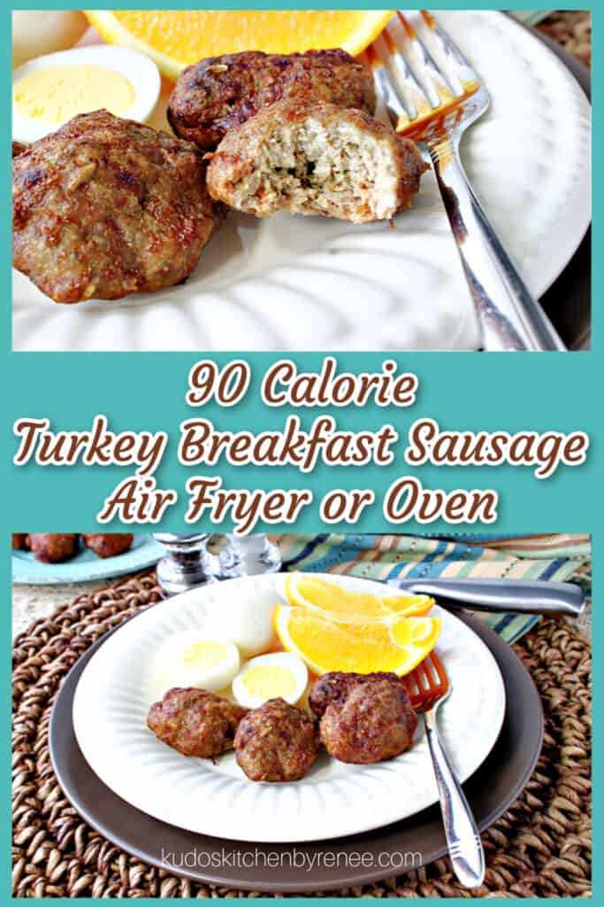 Vertical collage images of two plates of Turkey Breakfast Sausages on a white plate with a fork.
