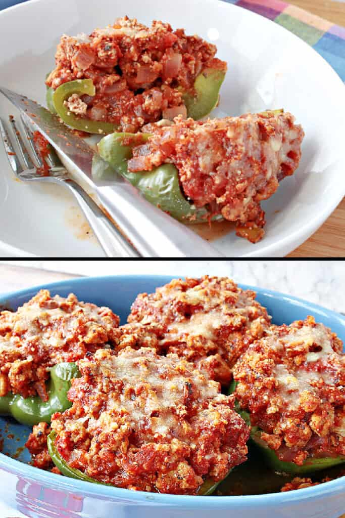A vertical photo collage of Turkey Parmesan Stuffed Peppers one photo with a closeup pepper cut in half and the other with the peppers in a casserole dish.