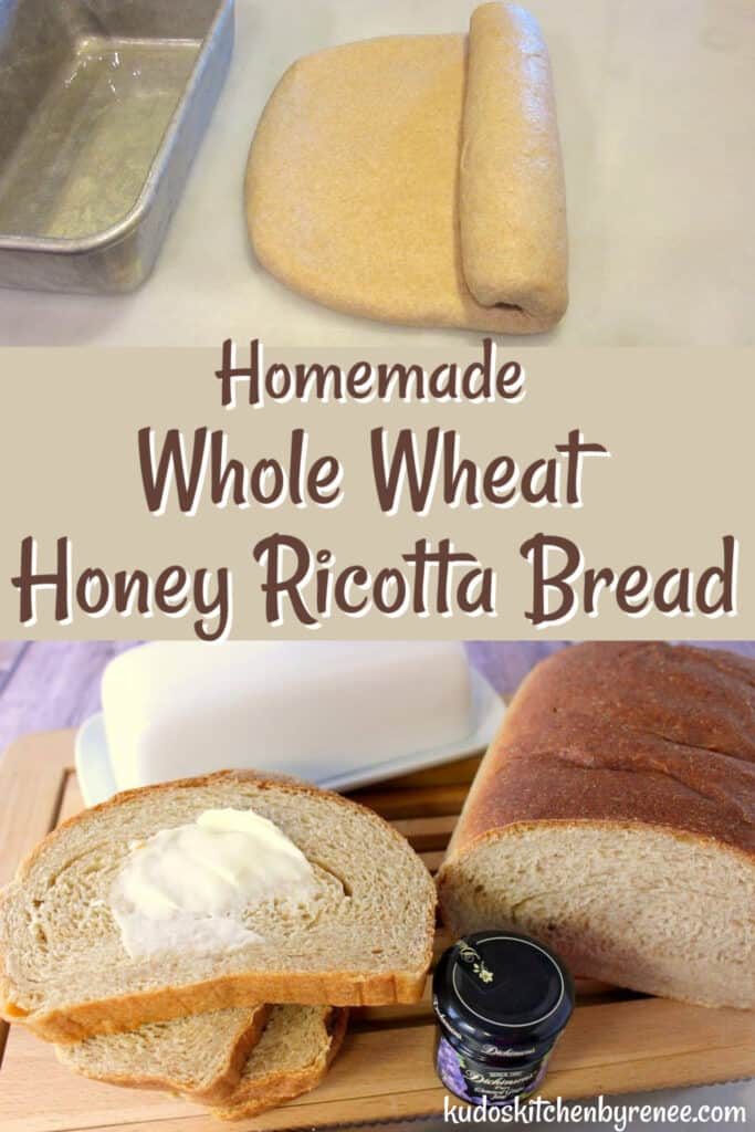 A vertical photo collage image for Whole Wheat Honey Ricotta Bread with a title text overlay graphic in brown and white.