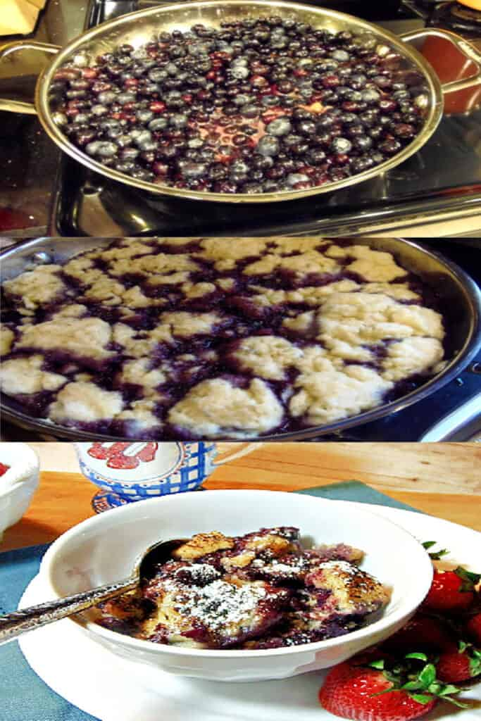 A triple photo collage of how to make Blueberry Grunt in a skillet on the stovetop.