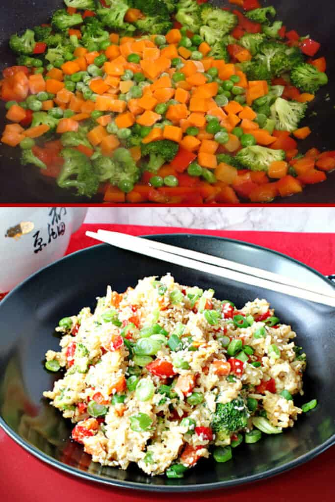 A vertical photo collage of vegetables and a finished dish of Brown Rice Stir Fry.