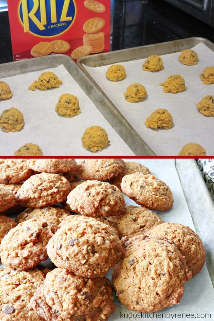 A vertical photo collage of how to make Butterscotch Ritz Cookies with baked cookies for the bottom image.