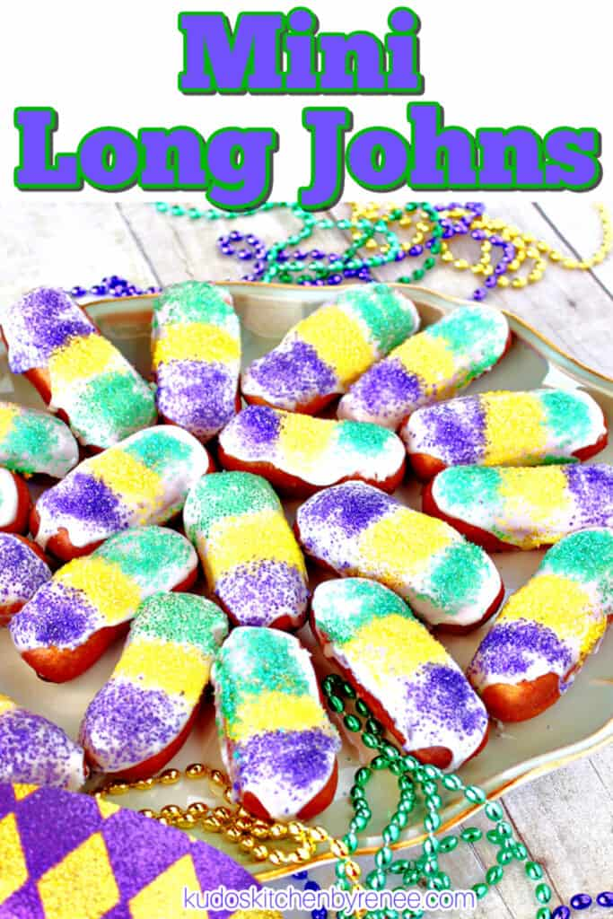 A vertical closeup image of a plate of Mini Long Johns along with a title text overlay graphic and mardi gras beads.