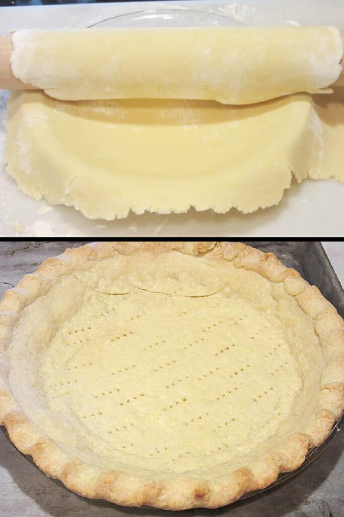 A vertical photo collage of two images of Mom's Homemade Pie Crust recipe. One baked, and one unbaked.