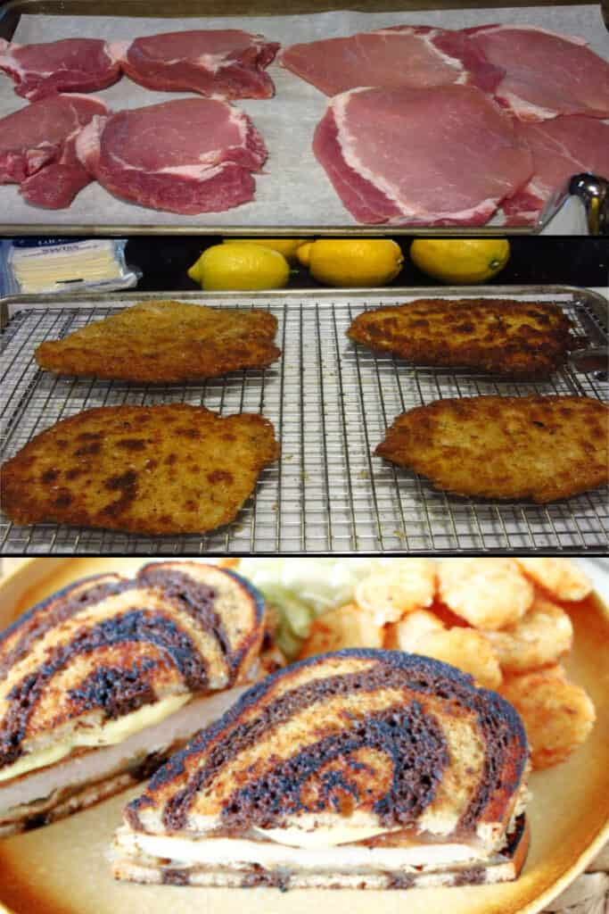 A vertical photo collage of how to make a Schnitzel Melt Sandwich with fried pork cutlets.