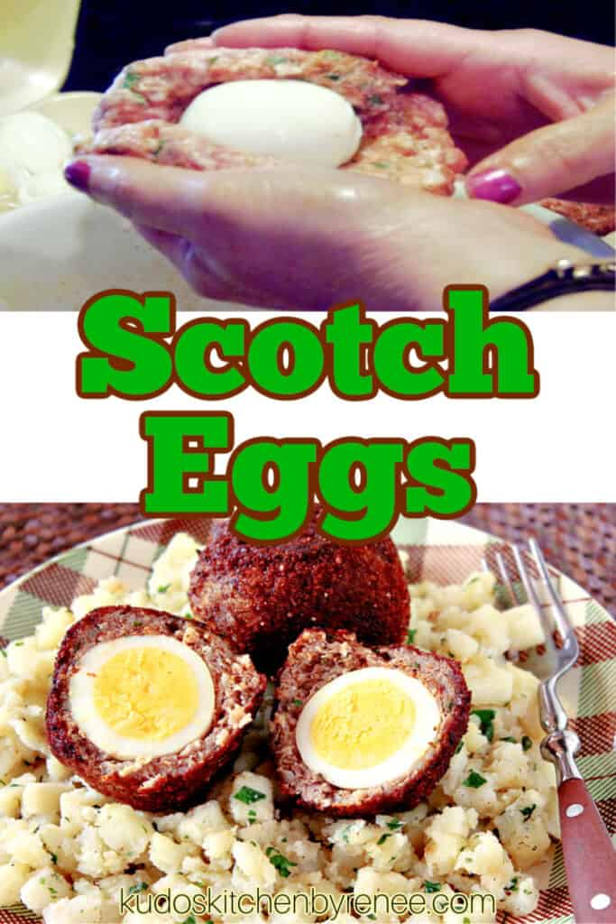 A vertical collage image of how to make Scotch Eggs along with a title text overlay graphic in the center.