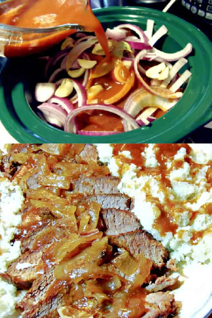 A vertical collage image of how to make a Slow Cooker Beef Brisket.