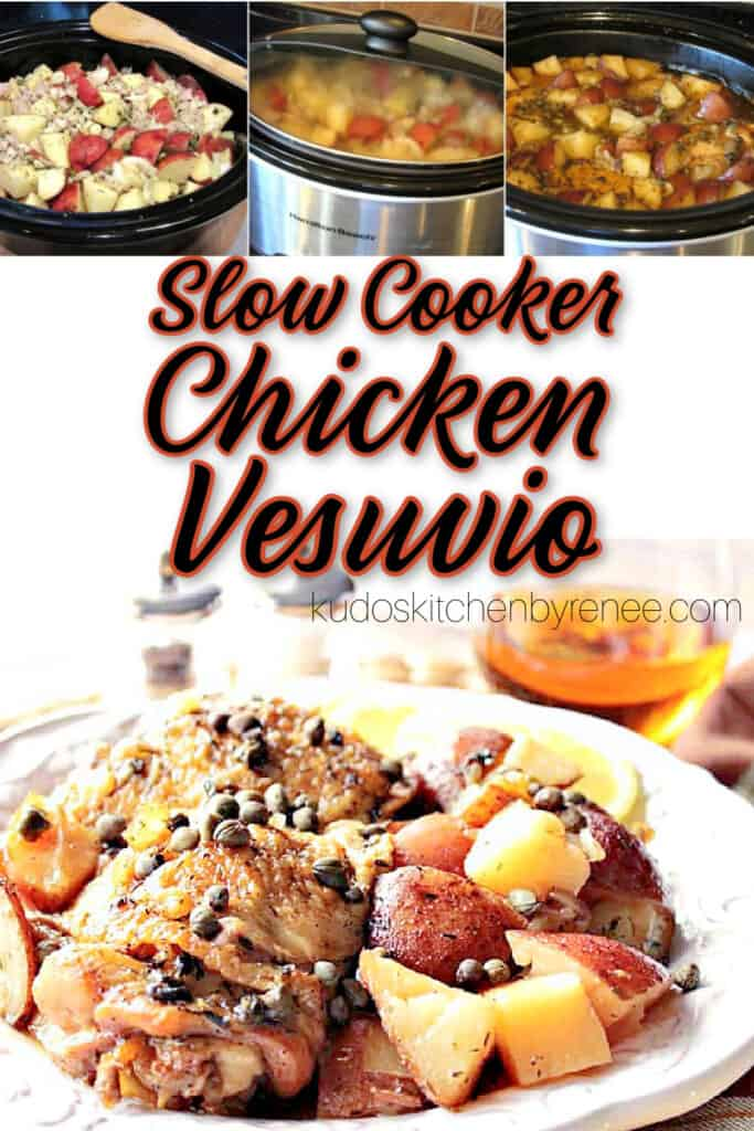 A vertical collage image of Chicken Vesuvio make in a slow cooker with a title text graphic overlay.
