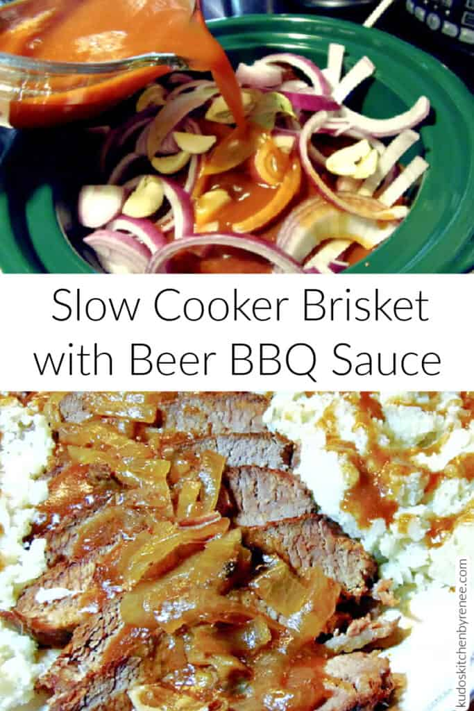 A vertical photo collage of how to make a Slow Cooker Beef Brisket along with a title text overlay graphic in the center.