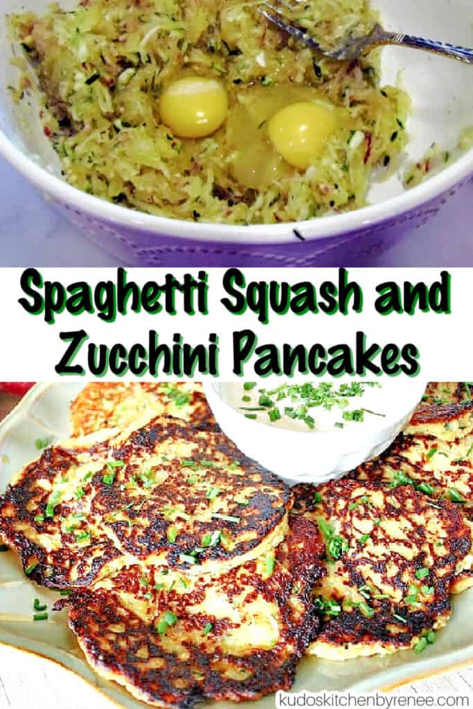 A vertical photo collage of how to make Spaghetti Squash and Zucchini Pancakes with a title text overlay graphic in the center.