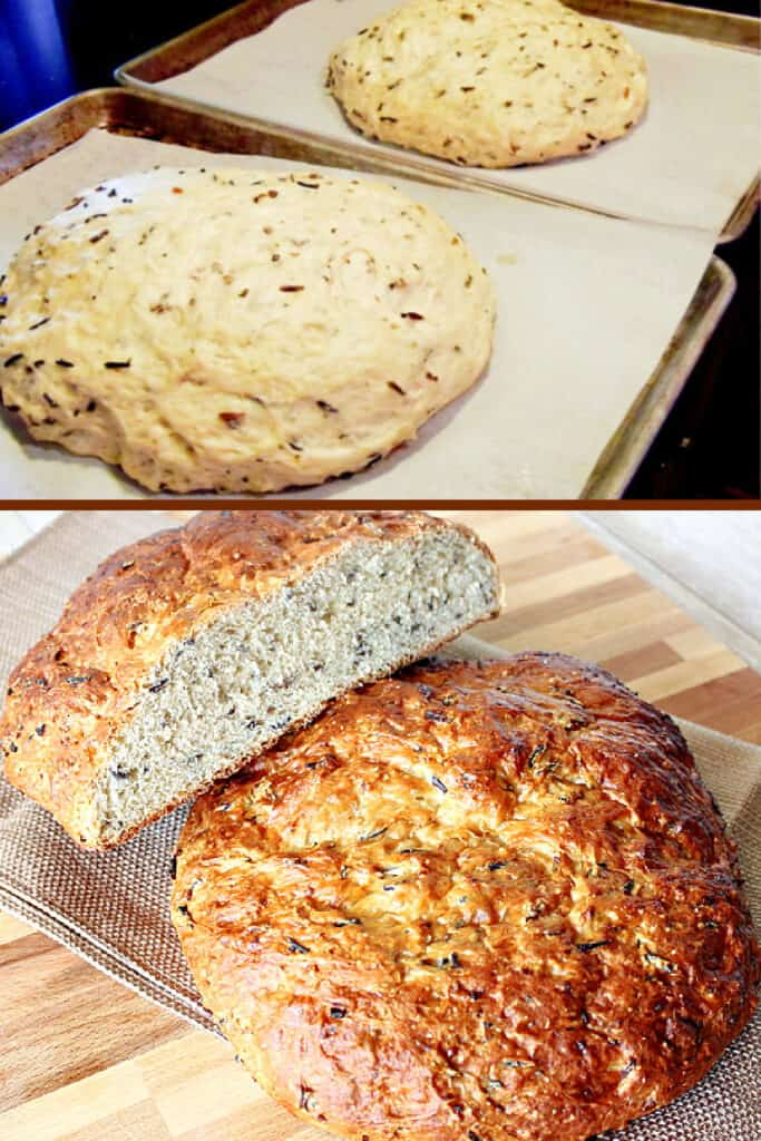 A vertical photo collage of how to make Wild Rice Bread with Onions with the top being dough, and the bottom being baked loaves.