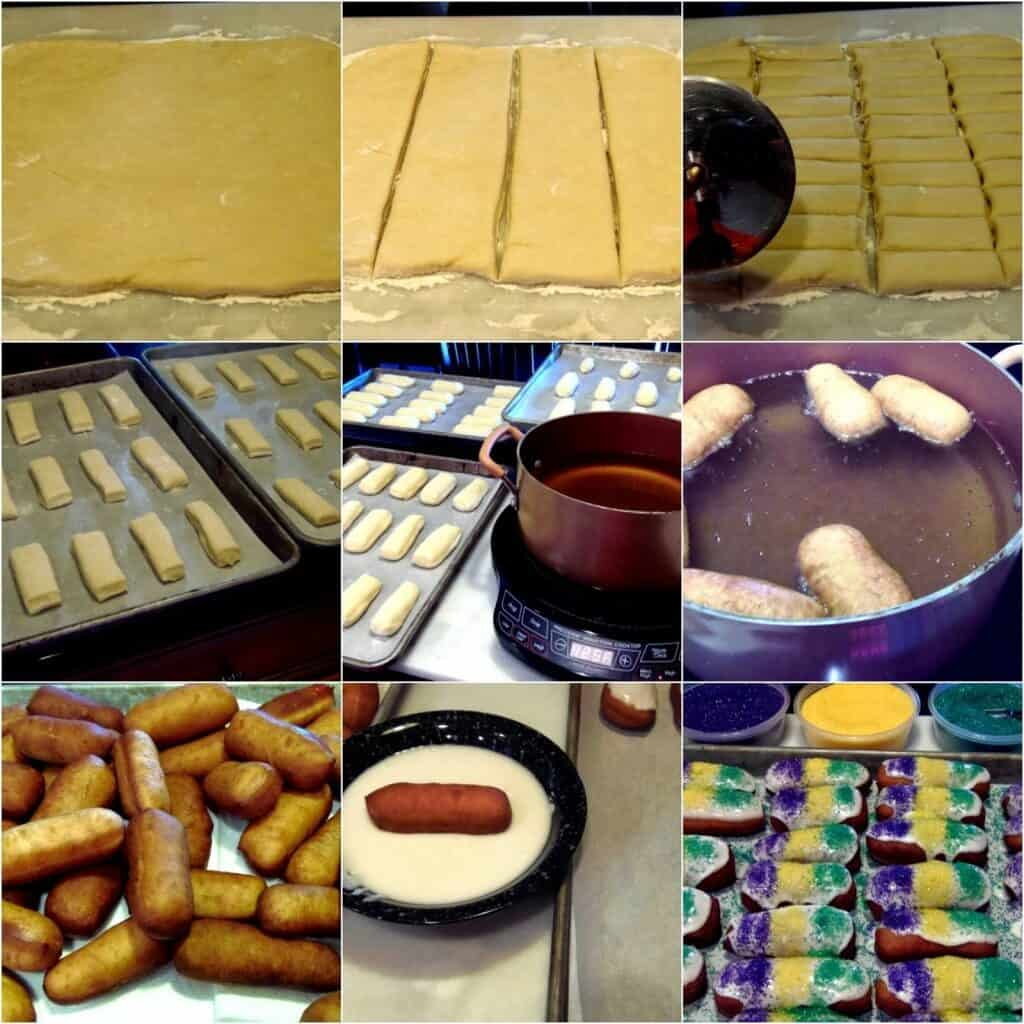 Photo collage of how to fry Mini Long Johns with a glaze and colorful sanding sugar.