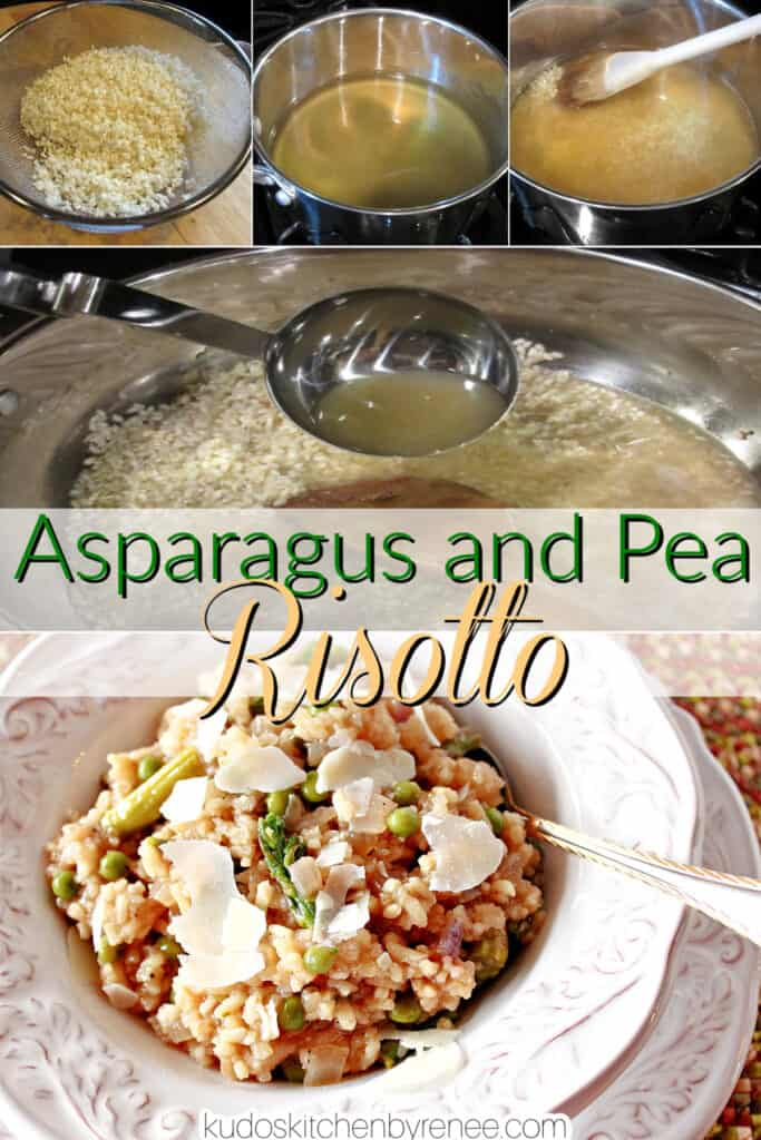A vertical collage image along with a title text overlay graphic for how to make Asparagus and Pea Risotto.