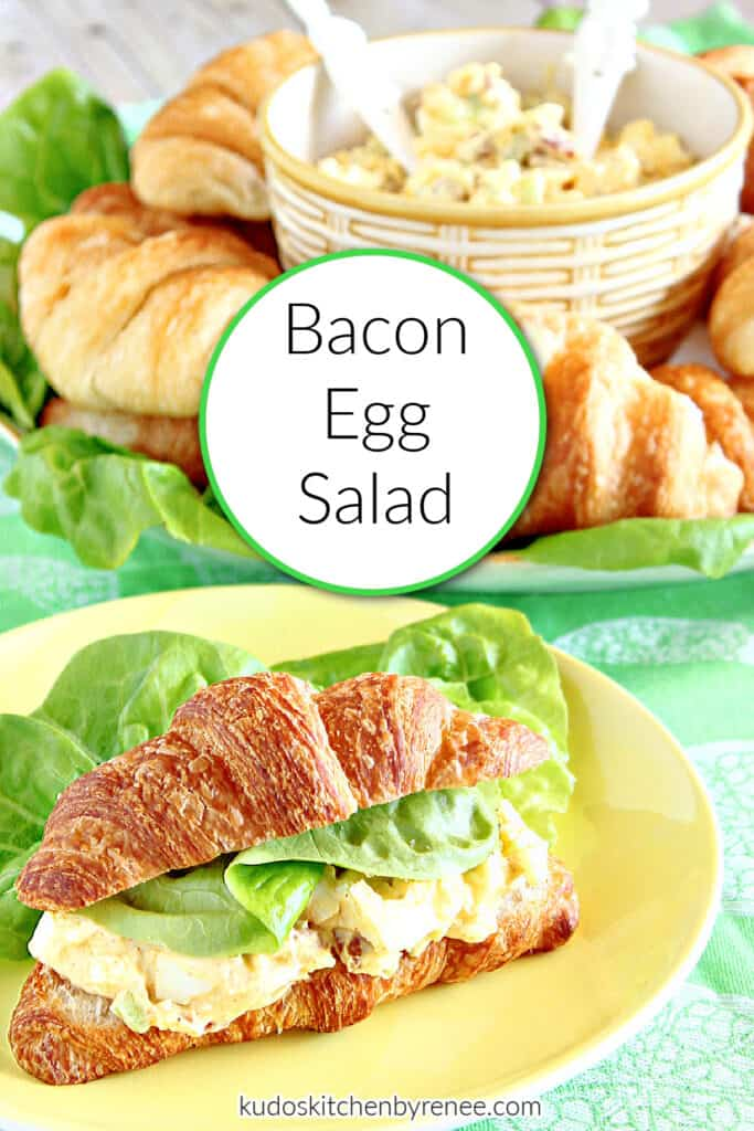 A vertical closeup along with a title text overlay graphic for Bacon Egg Salad on a yellow plate with green lettuce leaves.