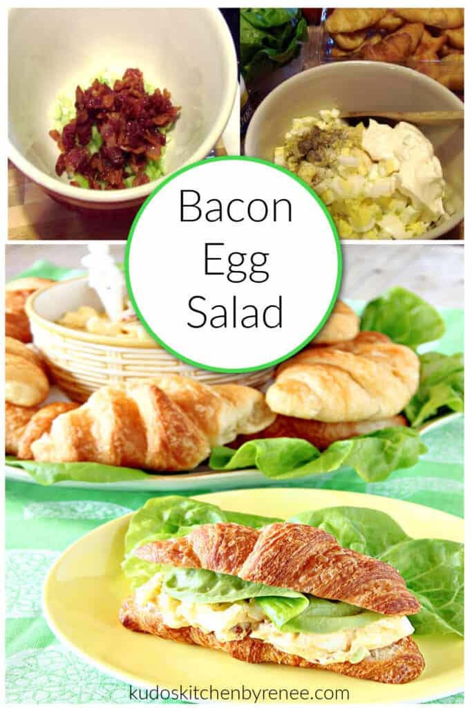 A Bacon Egg Salad photo collage along with a title text overlay graphic.