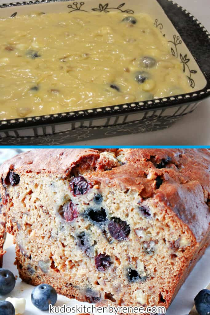 A vertical two image collage of Blueberry Banana Quick Bread. The top image is of the unbaked loaf and the bottom image is baked.