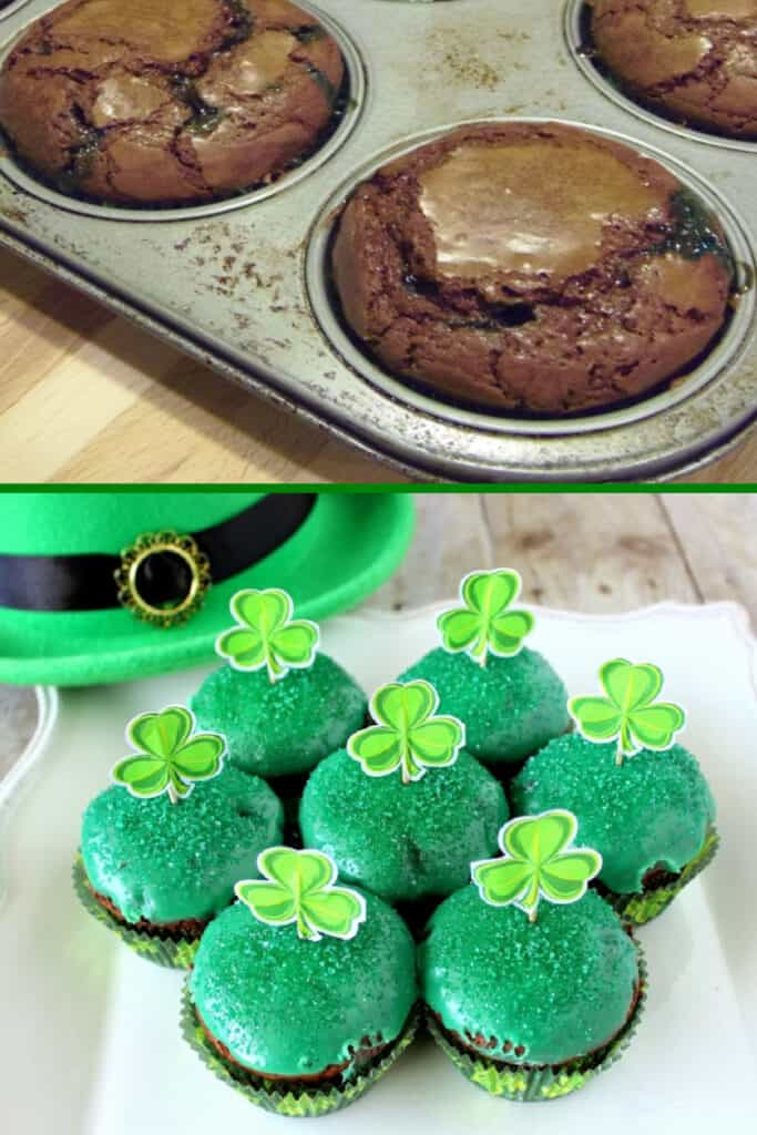 A vertical collage image of Chocolate Mint Brownie Cupcakes. The top image in a cupcake tin and the bottom image of them on a plate with green icing.