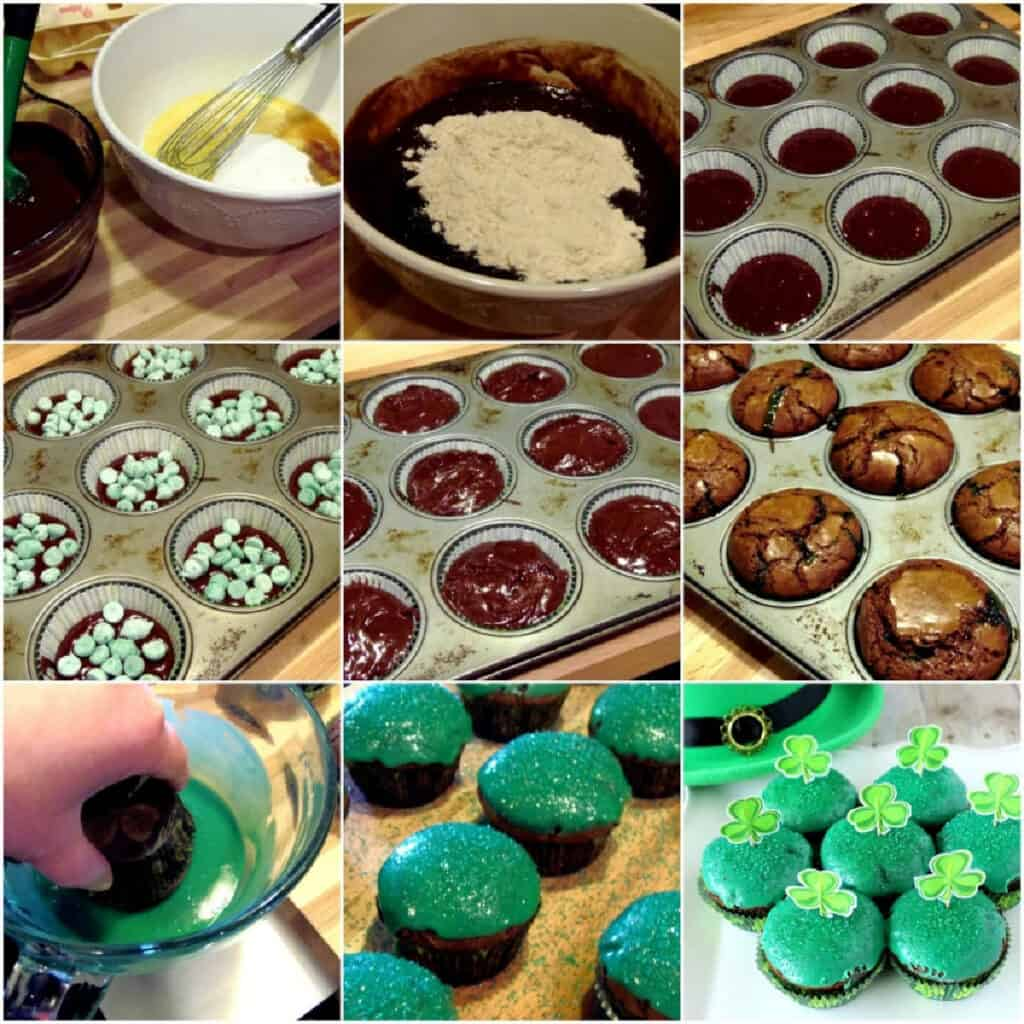 A nine collage image of how to make Chocolate Mint Brownie Cupcakes.