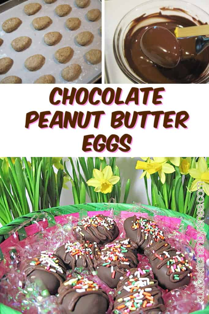 A vertical photo collage with prep photos of how to make Chocolate Peanut Butter Eggs along with a title text overlay graphic.