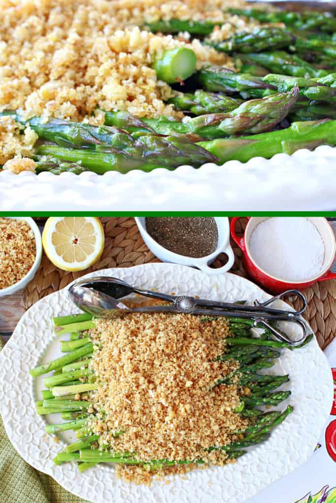 A vertical two collage image of Asparagus with Breadcrumbs, the top being a closeup and the bottom being an overhead view.