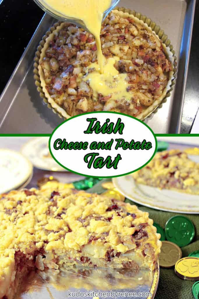 A vertical photo collage of how to make an Irish Cheese and Potato Tart with a process shot and a finished shot along with a title text overlay graphic.