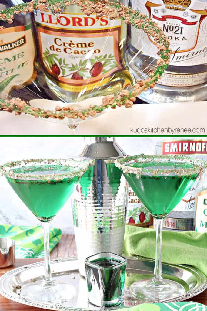 A vertical collage image of the rim and the completed martini of Irish Grasshopper Cocktails with chocolate and green sugar rim.