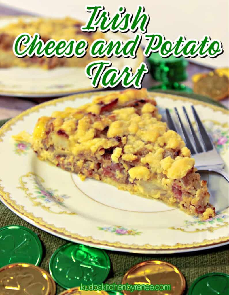 A vertical image of a slice of Irish Cheese and Potato Tart on a plate with a fork including a title text overlay graphic.