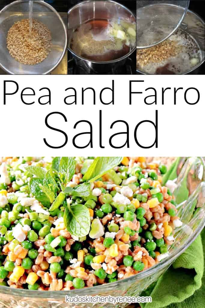 A vertical collage image along with a title text overlay graphic for Pea and Farro Salad.