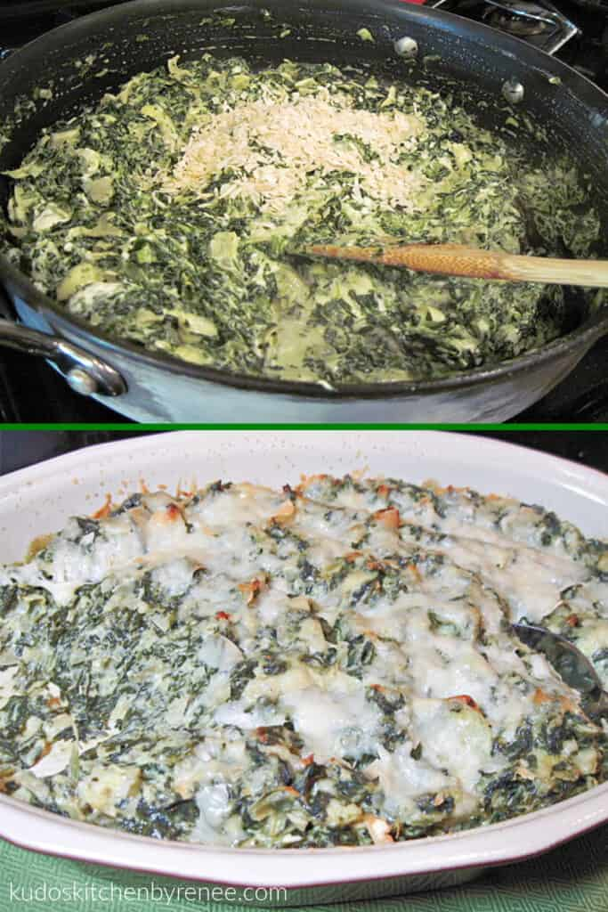 A vertical collage image with two photos of Spinach Artichoke Dip. One covered with melted cheese, and the other in a skillet being prepared.