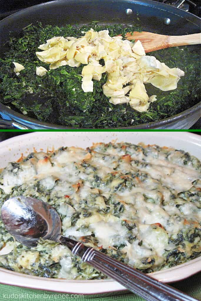 A vertical collage of two images of Cheesy Spinach and Artichoke Dip. One in preparation, and the other is the completed dish with a spoon.