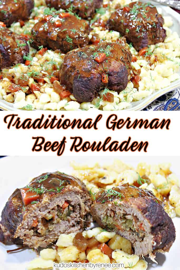 A vertical photo collage with a title text overlay graphic of Traditional German Beef Rouladen with carrots, dill, and gravy.