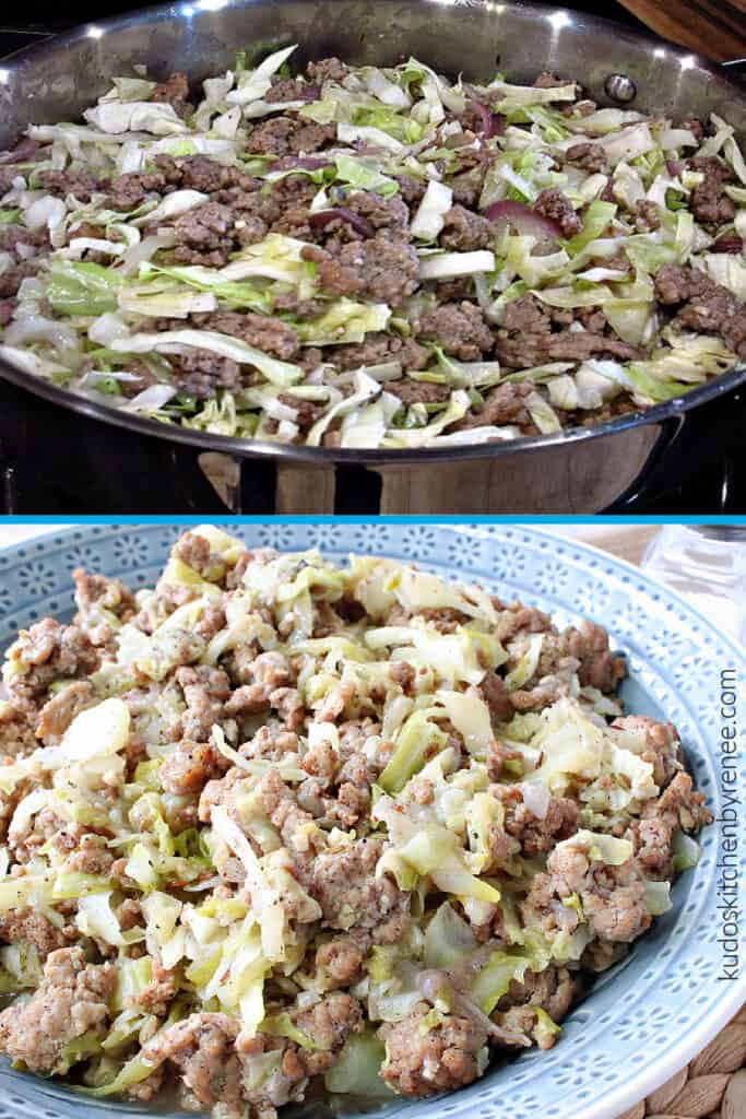 A vertical collage image of two pictures of Ground Pork and Cabbage Skillet. One in a skillet and on in a blue bowl.