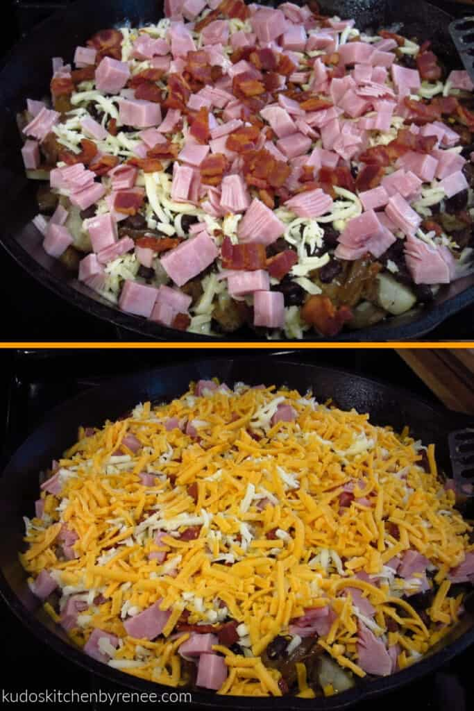 A vertical photo collage of prep photos of the making of Loaded Skillet Potatoes.