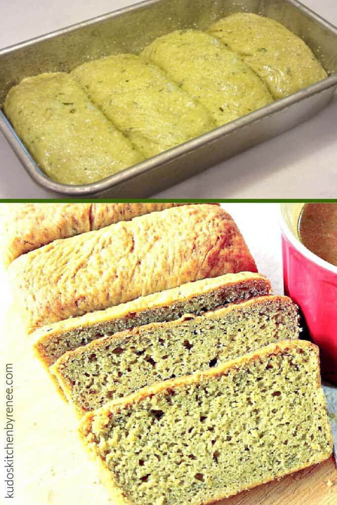 A vertical photo collage of Avocado Yeast Bread along with a process photo and a completed loaf of bread.