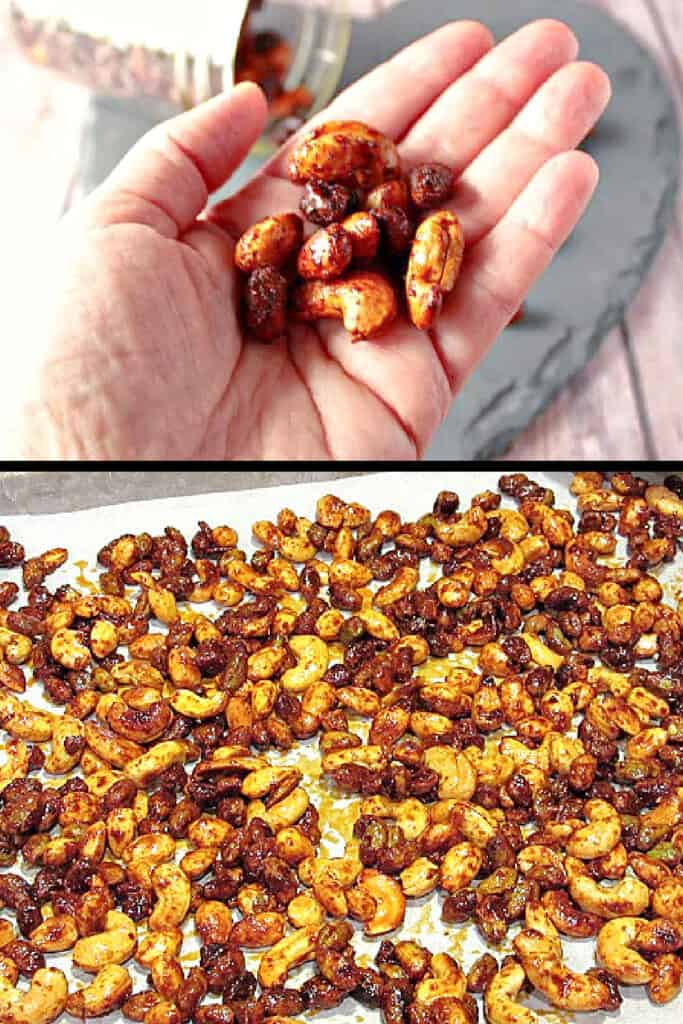 A two image vertical collage of Brown Butter Roasted Nuts with the top image being a handful of them and the bottom being a baking sheet filled with them.