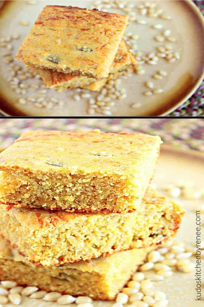 A two image vertical photo collage image of Buttermilk Green Chile Cornbread with kernels of corn on the plate along with a stack of cornbread.