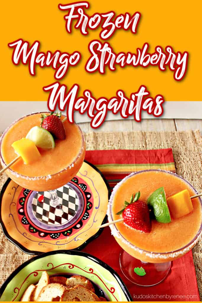 A vertical overhead image along with a title text overlay graphic for Frozen Mango Strawberry Margaritas along colorful plates and napkins.