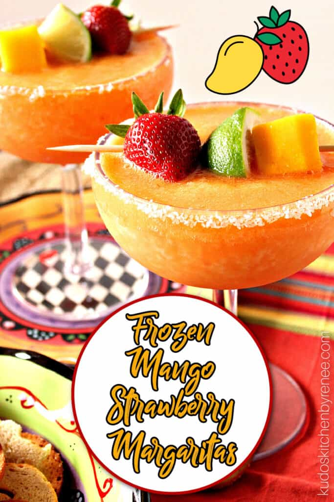 A vertical closeup image to two glasses filled with Frozen Mango Strawberry Margaritas along with a circle and a title text overlay graphic.
