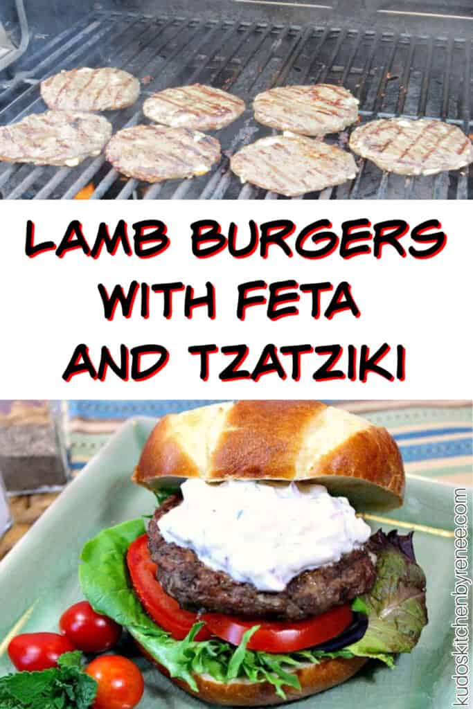 A vertical two image collage of Lamb Burgers with Feta and Tzatziki on the grill and one on a bun on a green plate.