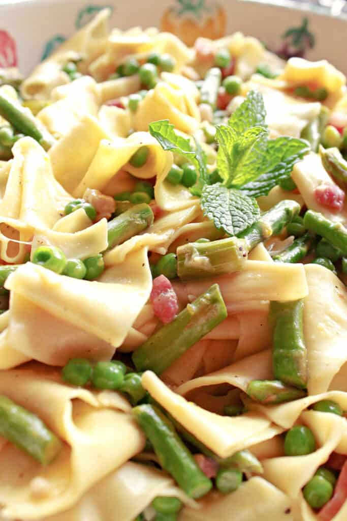 An extreme vertical closeup of some Pappardelle with Spring Vegetables pasta with peas, asparagus, fresh mint and pancetta.