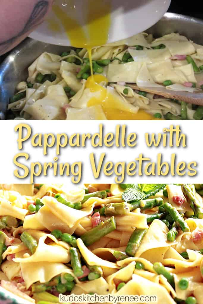 A vertical collage with two images for Pappardelle with Spring Vegetables
