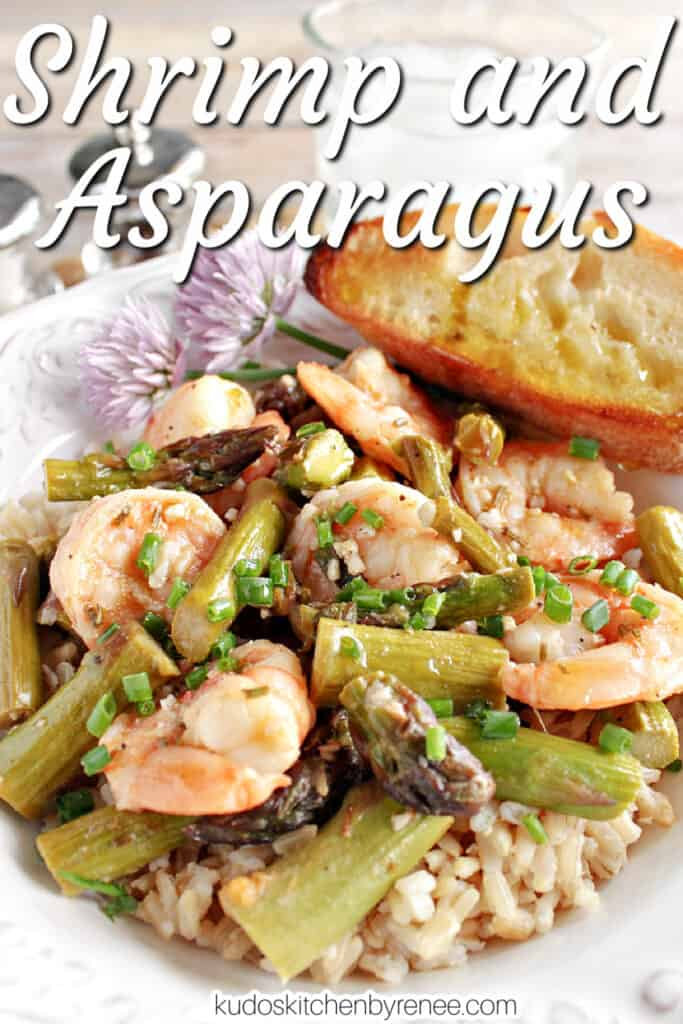 A vertical closeup image along with a title text overlay graphic for Shrimp and Asparagus along with clover flowers and chopped chives.