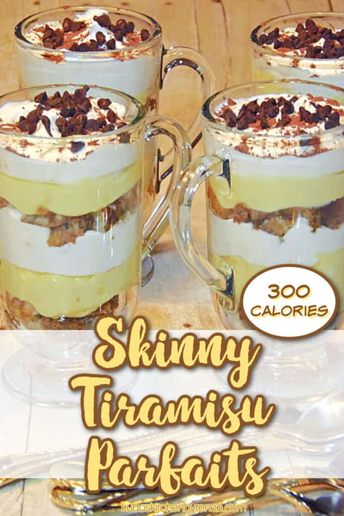 A vertical title text image of Skinny Tiramisu Parfaits with ladyfingers, whipped cream, and mini chocolate chips.