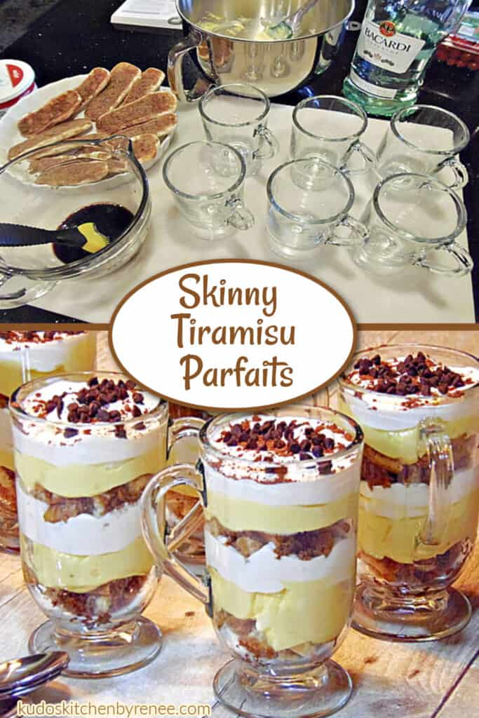A vertical two photo collage of how to make Skinny Tiramisu Parfaits along with a title text overlay graphic.