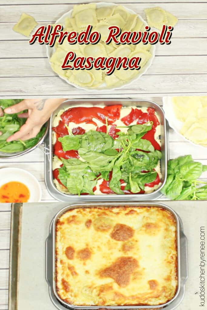 A triple vertical collage including a title text over graphic image of how to make Alfredo Ravioli Lasagna with red peppers, spinach, basil, and alfredo sauce.