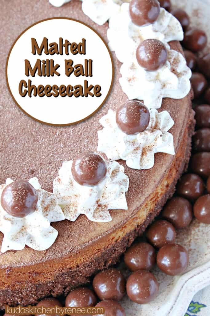 A vertical closeup along with a title text overlay graphic of a Malted Milk Ball Cheesecake dusted with malted milk powder and garnished with whipped cream.