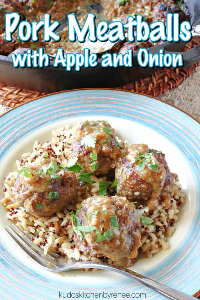 A vertical closeup along with a title text overlay graphic for Pork Meatballs with Apple and Onion on a plate with brown sauce and parsley.