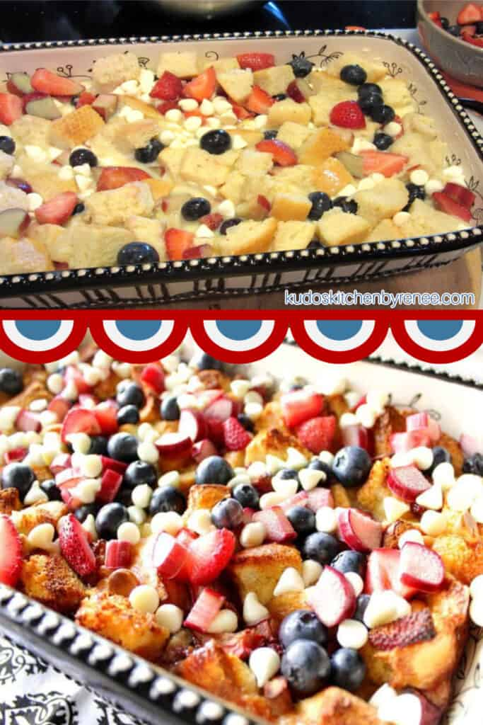 A vertical two image collage of a Red, White, and Blue Bread Pudding with a bunting boarder.