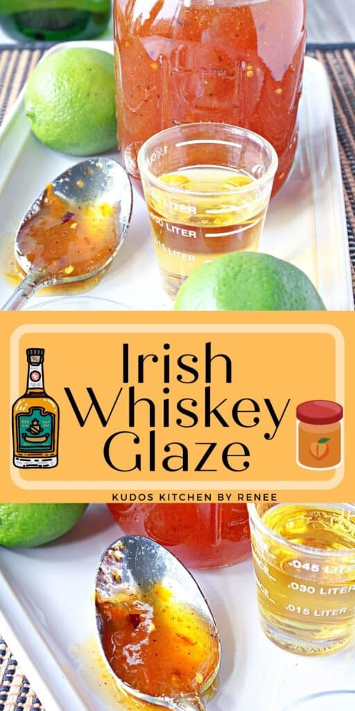 A vertical two image collage with title text overlay graphic for Irish Whiskey Glaze Recipe.
